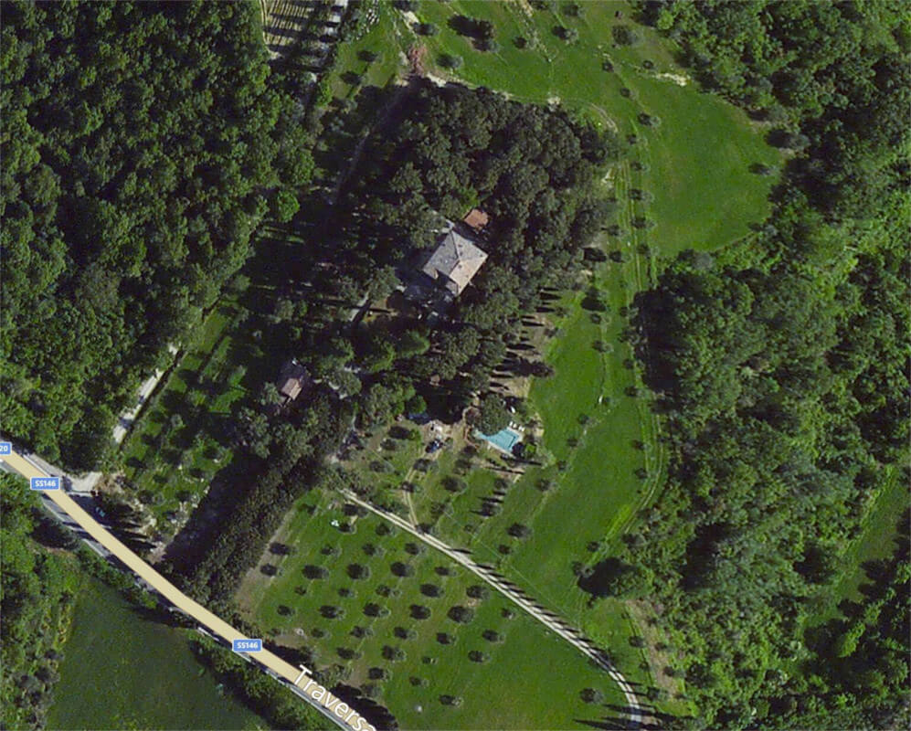 Arial View of Luxury Villa in Siena