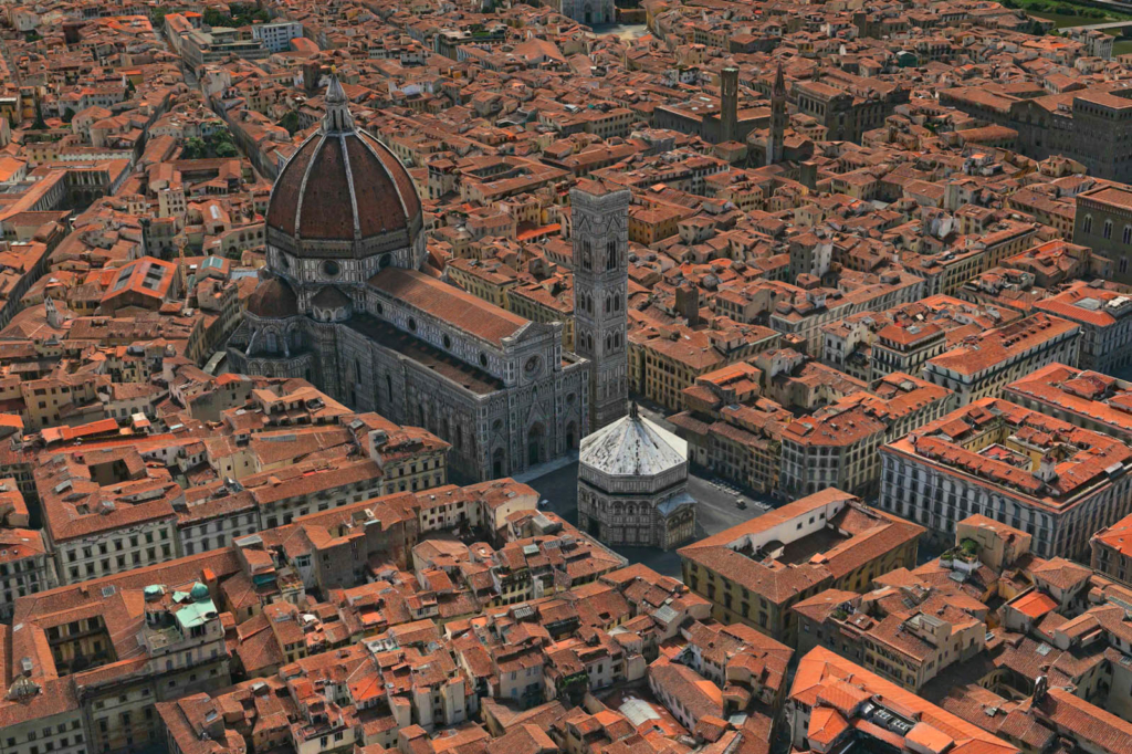 Florence Bird Eye View from Helicopter