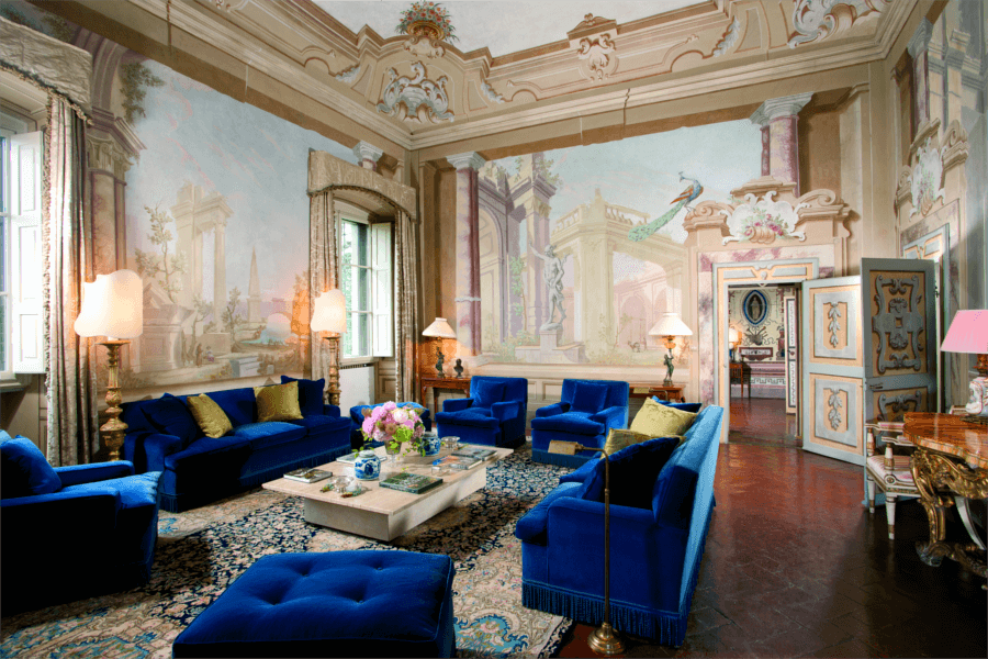 Luxury Villa Florence Blue Living Room -Allure Of Tuscany